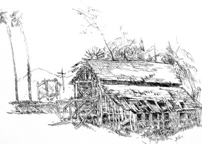 Pen and ink drawing - barn